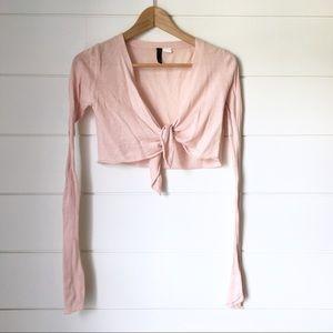 H&M Blush Pink Cropped Layering Sweater